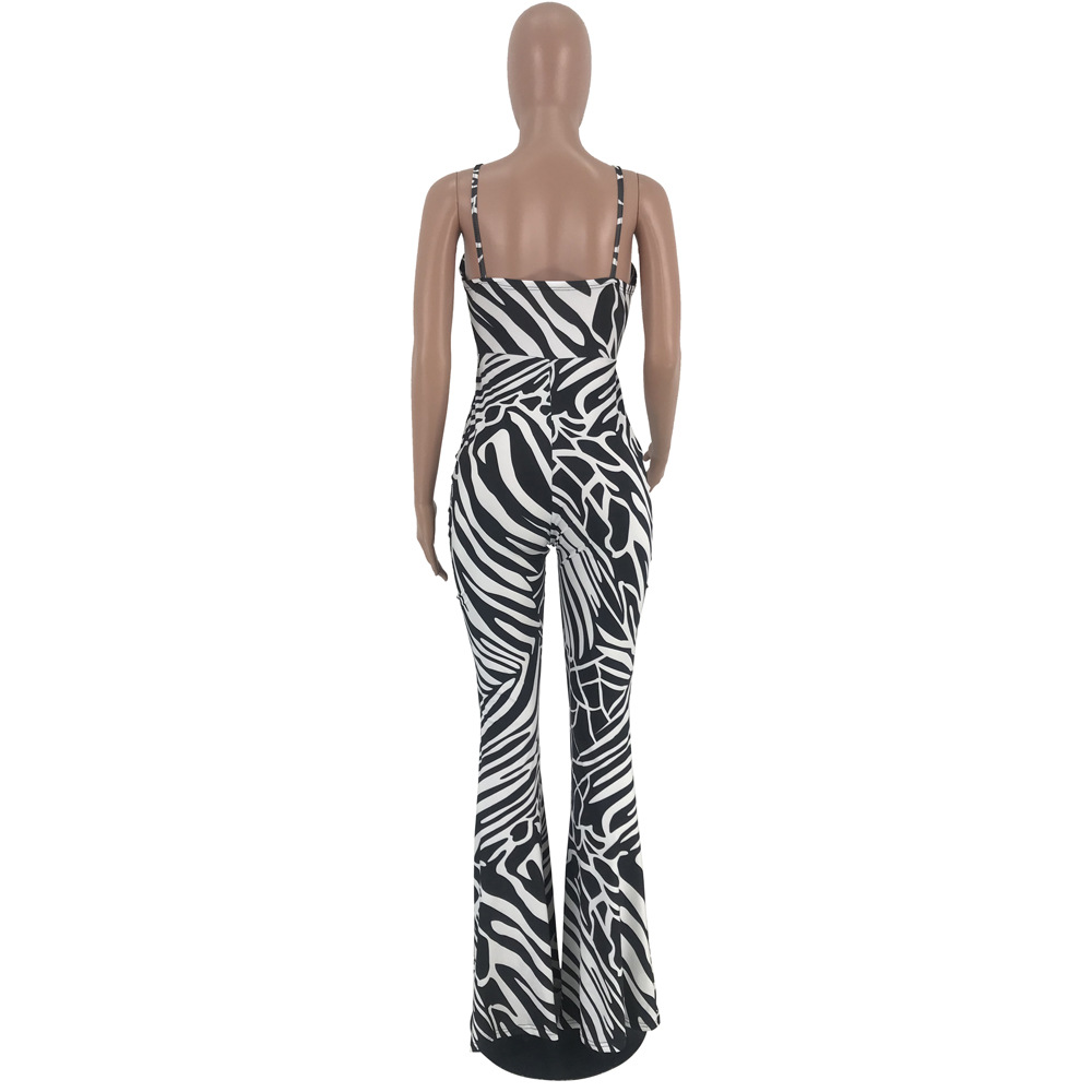 Spaghetti Strap Bra Jumpsuit white and Black Striped Rompers Jumpsuit Flare Pants Overalls Slim Bodycon Club Outfits Playsuit in Jumpsuits from Women 39 s Clothing