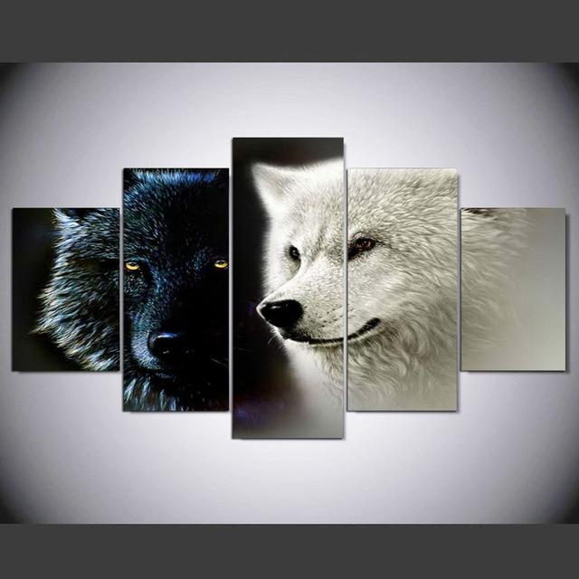 HD Gedrukt 5 Stuk Canvas Art Abstract Zwart Wit Wolf Paar ...