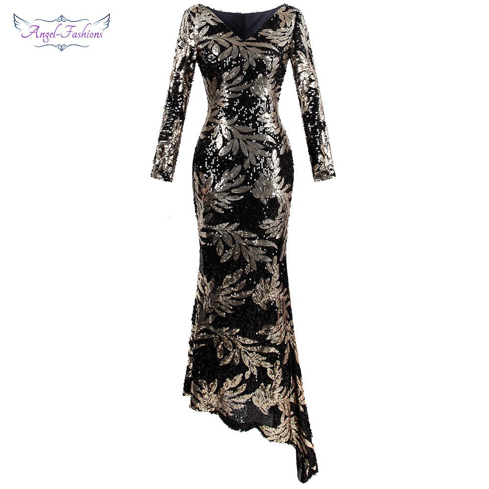 Angel fashions Women s Evening Dress Long Sleeve V Neck Floral Sequin Asymmetry Formal Gown Costume