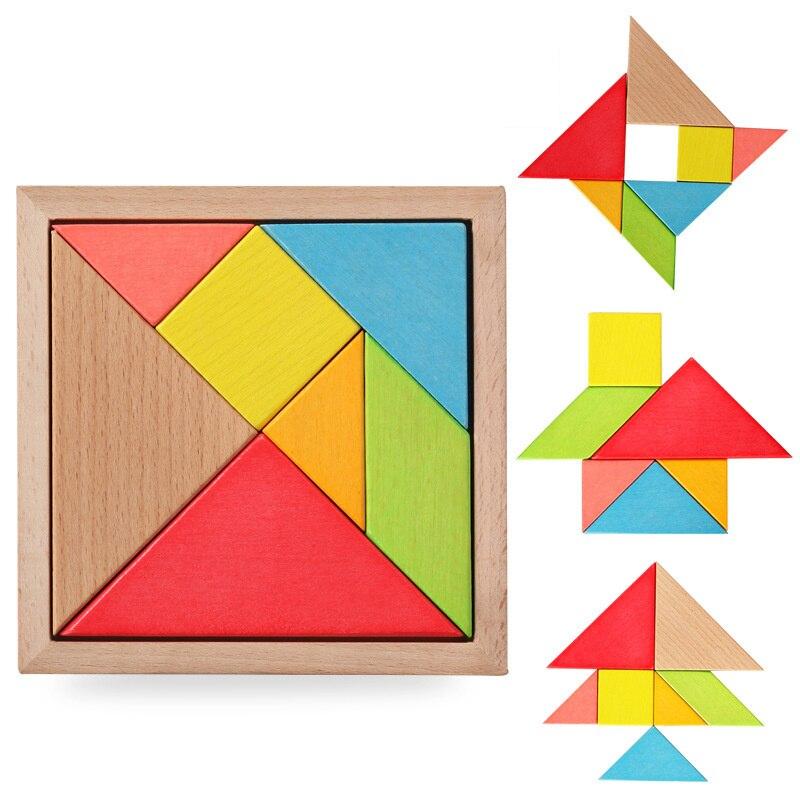 Tangram Ahşap Oyuncak Geometrik Şekil Bilmecenin Zihinsel Gelişim Oyuncaklar Çocuklar çocuklar için Oyuncaklar Bulmacalar & Sihirli Küpler GH223