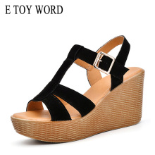 E TOY WORD 2019 Summer Platform sandals women Wedge Leather Ladies shoes open toe sexy High Heels suede fashion sandals