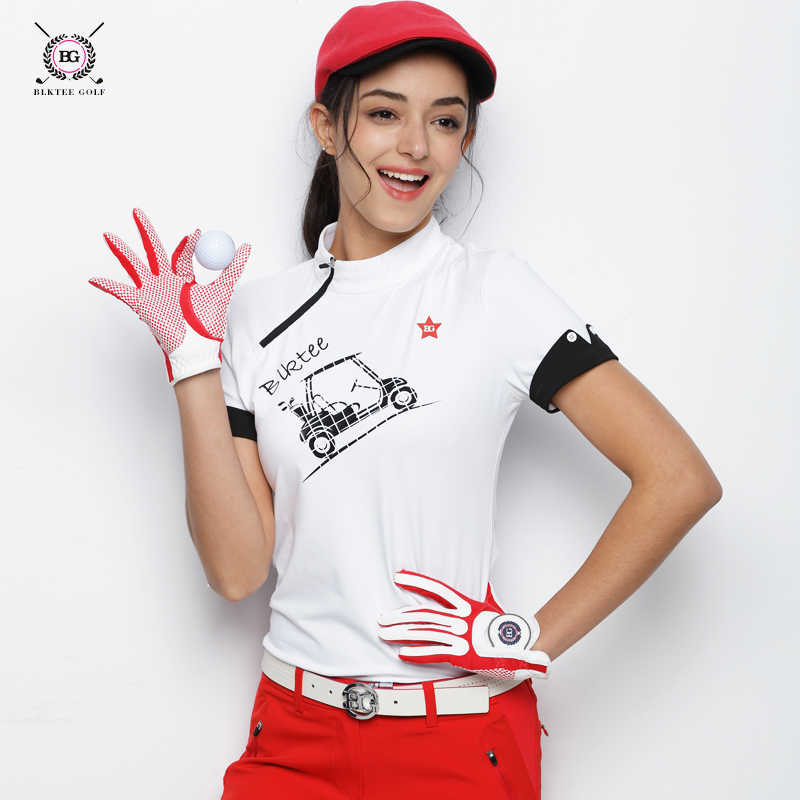 2018 BLK TEE women golf shirts short sleeve summer sports fabric stand collarT shirt golf training apparel lady top clothes red ms pgm authentic long sleeve t shirt top girls golf polo shirts women quick dry clothes tt design apparel trainning shirts 2018