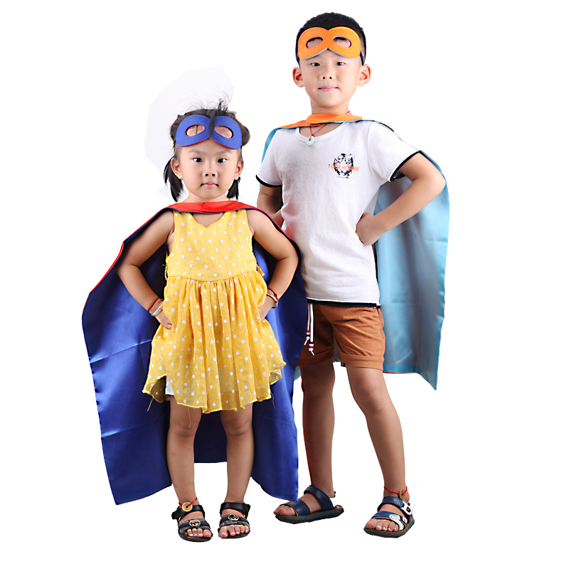 50*70cm baby kids Superhero capes cape+mask Double side Satin fabric Super hero capes for kids Cosplay Halloween costumes