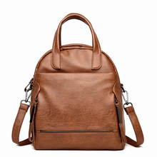 Casual Female Leather Solid Backpack Women Shoulder Bags Vintage Backpacks Quality School Bags for Girls Women Mochila Feminina brand women backpacks solid mochila feminina vintage school bags for teenagers girls bagpack black pu leather women backpack