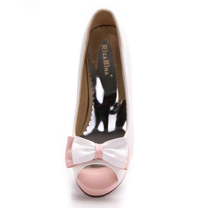 Peep Bownot Taille Talon Mode blanc 43 Rizabina rose Haute E Femmes Pompes Partie Bleu Club Chaussures 33 Bowtie Toe vd1qX