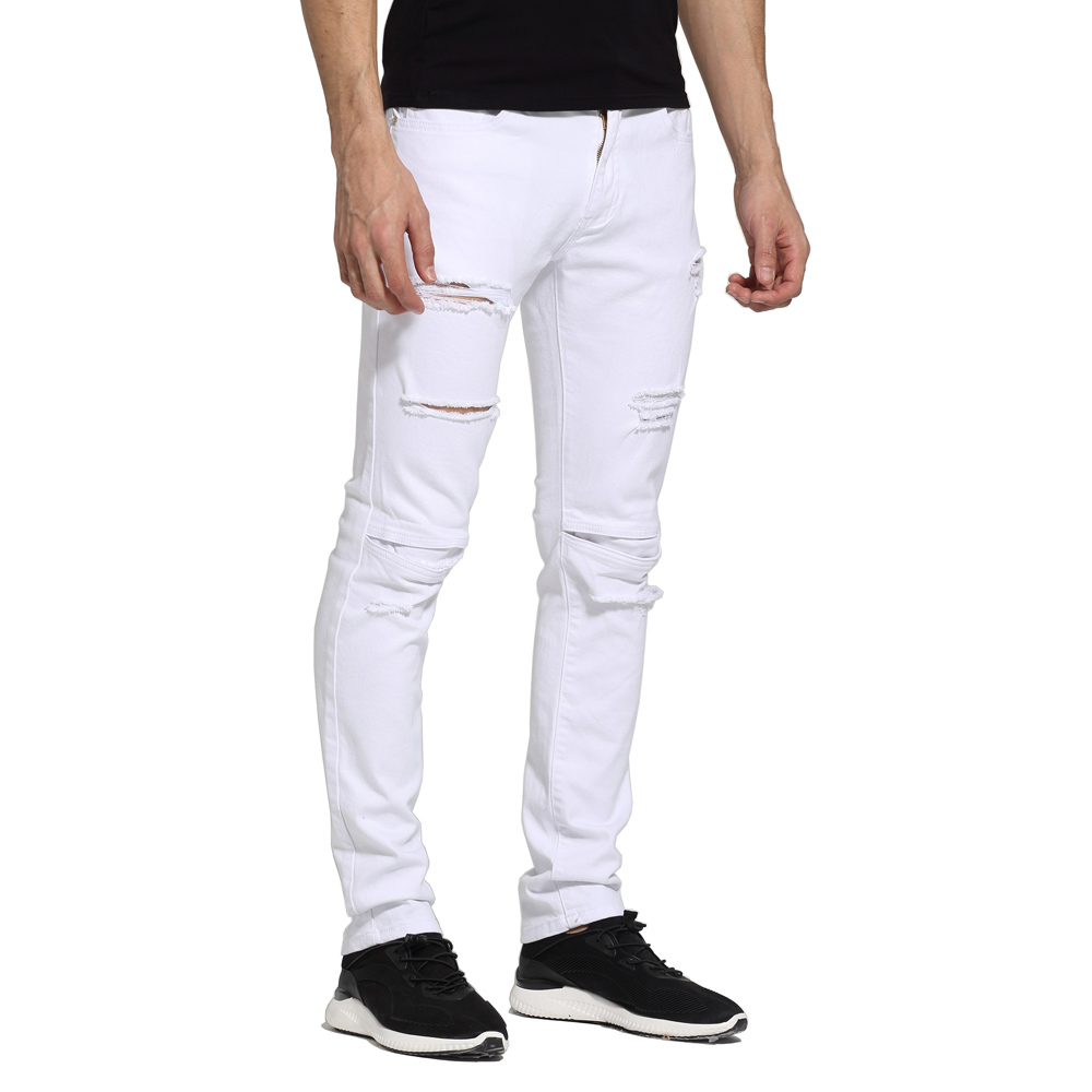 Men White   Jeans   Fashion Design Ripped Destroyed Strech Skinny   Jeans   E1702