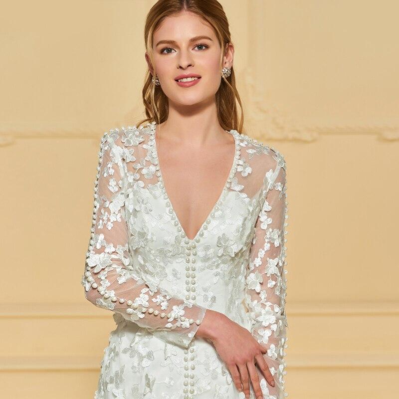 Dressv Ivory rochie de mireasa lunga V rochie lunga cu maneca lunga - Rochii de mireasa - Fotografie 4