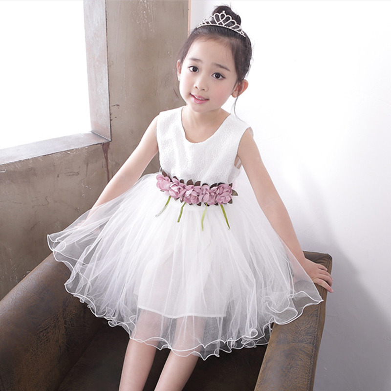 Baby Girls Lace Flowers Dress 2017 New Fashion Summer Appliques Tulle Sleeveless Princess Party Costume For Children Kid Dresses nimble dresses for girls lace appliques princess party cloth
