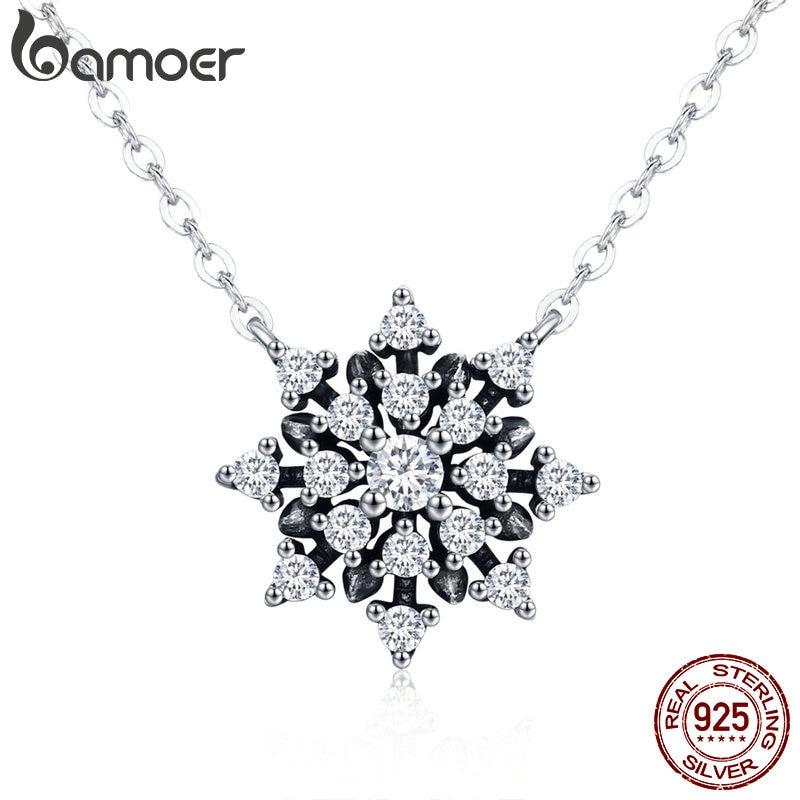 BAMOER 100% de alta calidad de la plata esterlina 925 luminosa CZ copo de nieve colgante collares de joyería de plata esterlina, regalo de SCN220