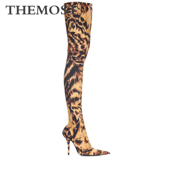 Leopard pattern women's over-the-knee boots autumn and winter fashion sexy super high-heeled pointed female boots
