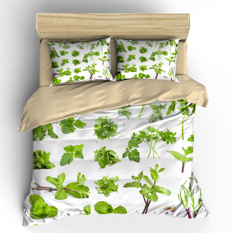 AHSNME 3D Effect Tropical Vegetables Collection Cover Set Summer Bedding Set Cool Green Vegetable Green Leaf King Bedding Set(China)