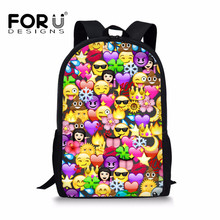 FORUDESIGNS School Bags For Girls and Boys Funny Emoji Desig