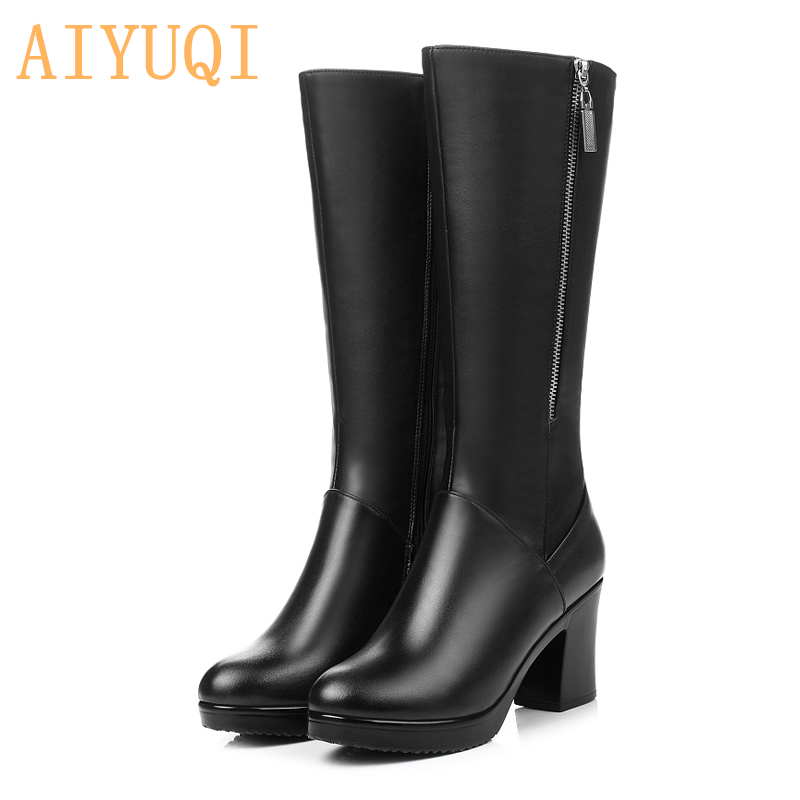 AIYUQI 2019 Women winter Boots genuine leather Boots high heeled women long boots lined warm snow