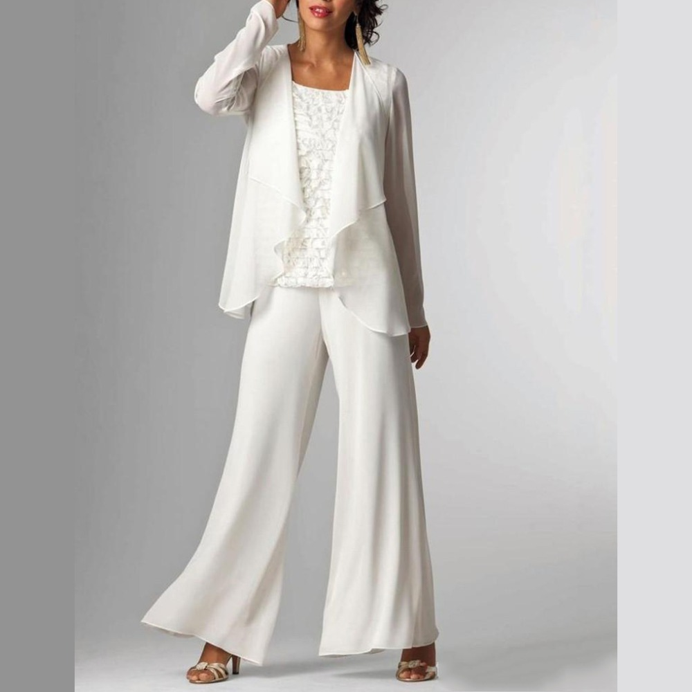 2019 White Elegant Women Casual 3 Pieces Chiffon Mother Of The Bride Dress Suit Jacket Pants Set Plus Size Vestidos Madre Novia in Mother of the Bride Dresses from Weddings Events