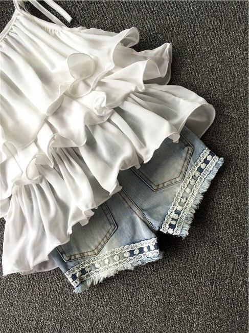 Лето 2016 Корейская детская одежда костюм для девочек шифоновый Cake слинг + укороченные штаны Pearl Flower Холтер Top джинсовые шорты Детский комплект