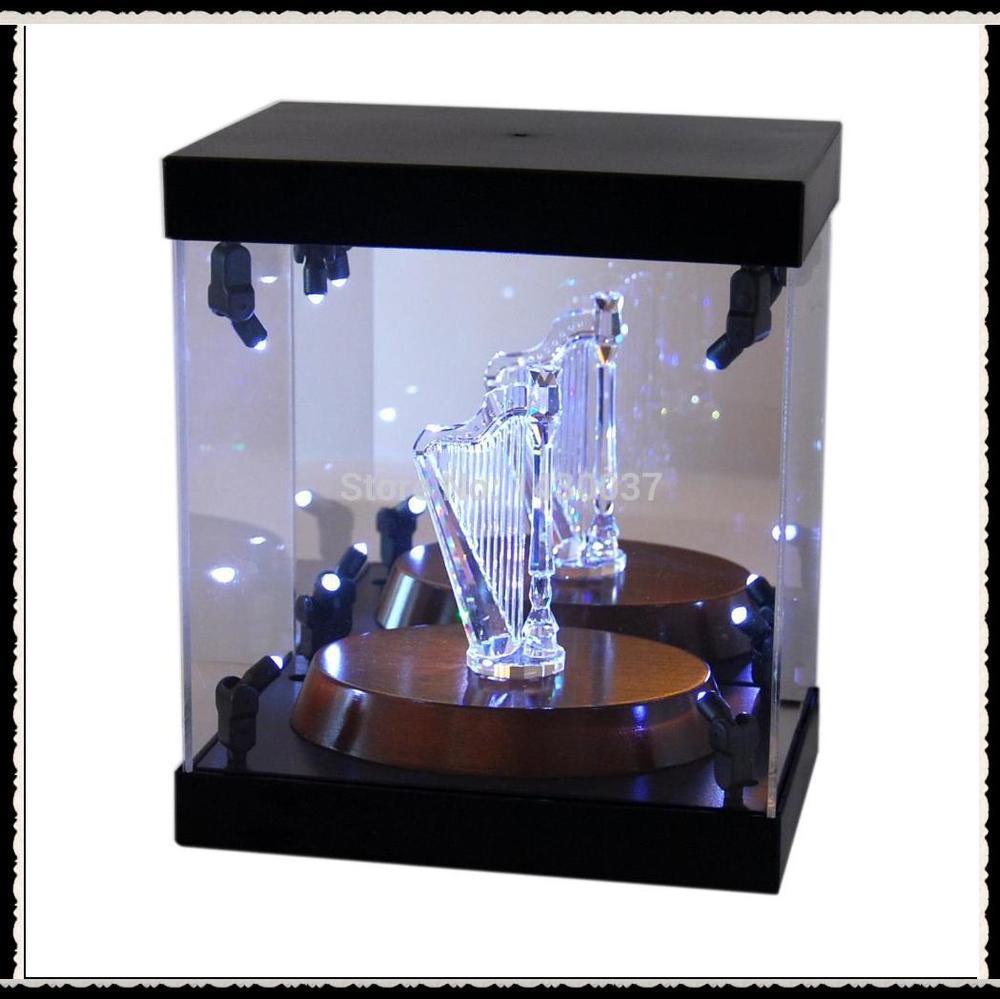 Acrylic Display Case Light Box for Swarovski Crystal Violin Love Swans Budgies