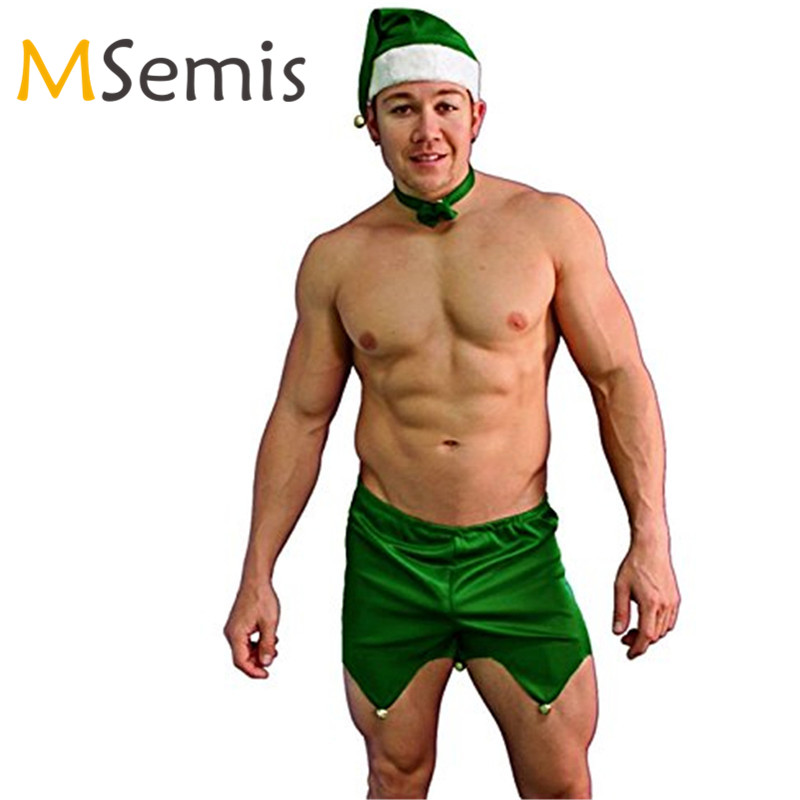 Christmas Underwear Men Boxer Gay Underwear with Hat Bow Tie Sets Fancy  Dress Party Costumes Christmas