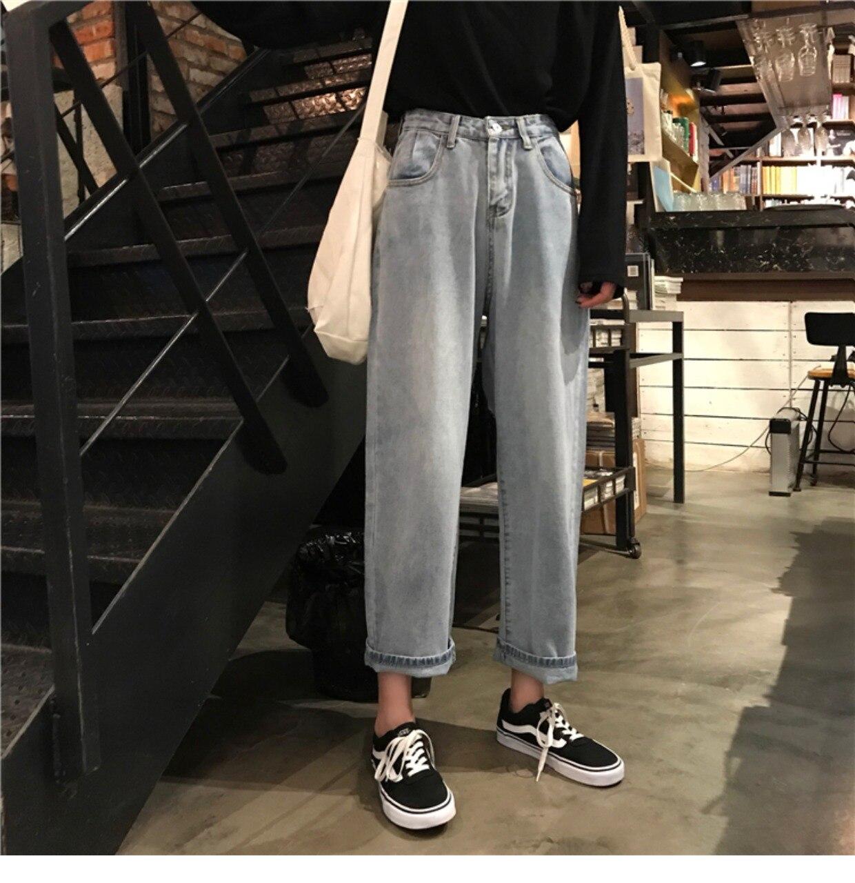 4dd4a467 Mihoshop Ulzzang Corea Corea Ropa de mujer Cintura alta Básica Pantalón  recto de pierna ancha Pantalones vaqueros de mezclilla de estudiante ...