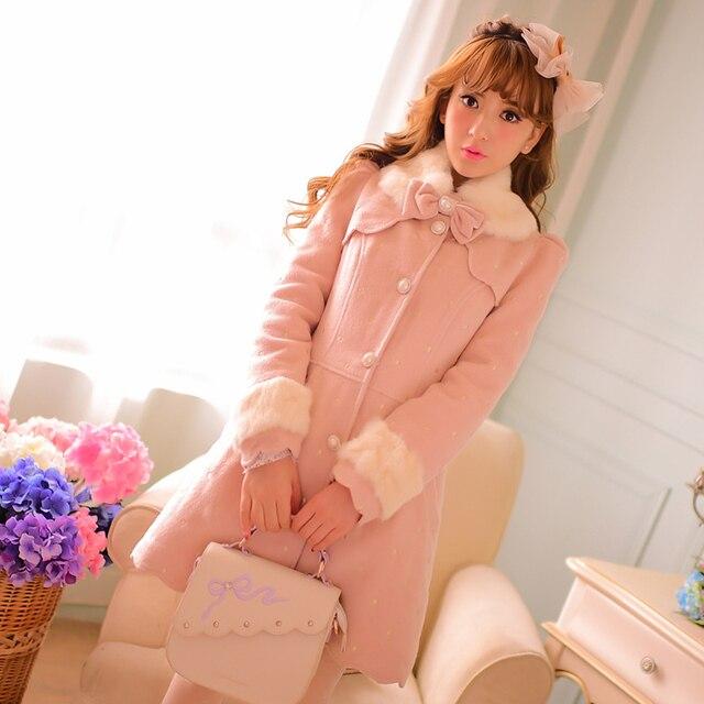 Принцесса сладкий лолита пальто Конфеты дождь оригинальный новый зима теплая Симпатичные девица кролик меховым воротником Шерстяная ткань пальто CR08