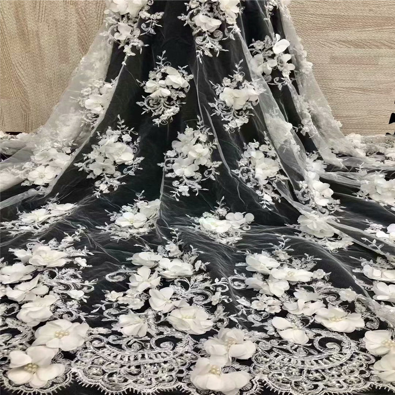 French beaded tulle Lace Fabric for wedding dress Pearl sequins off white african lace embroidered applique HJ1268 1