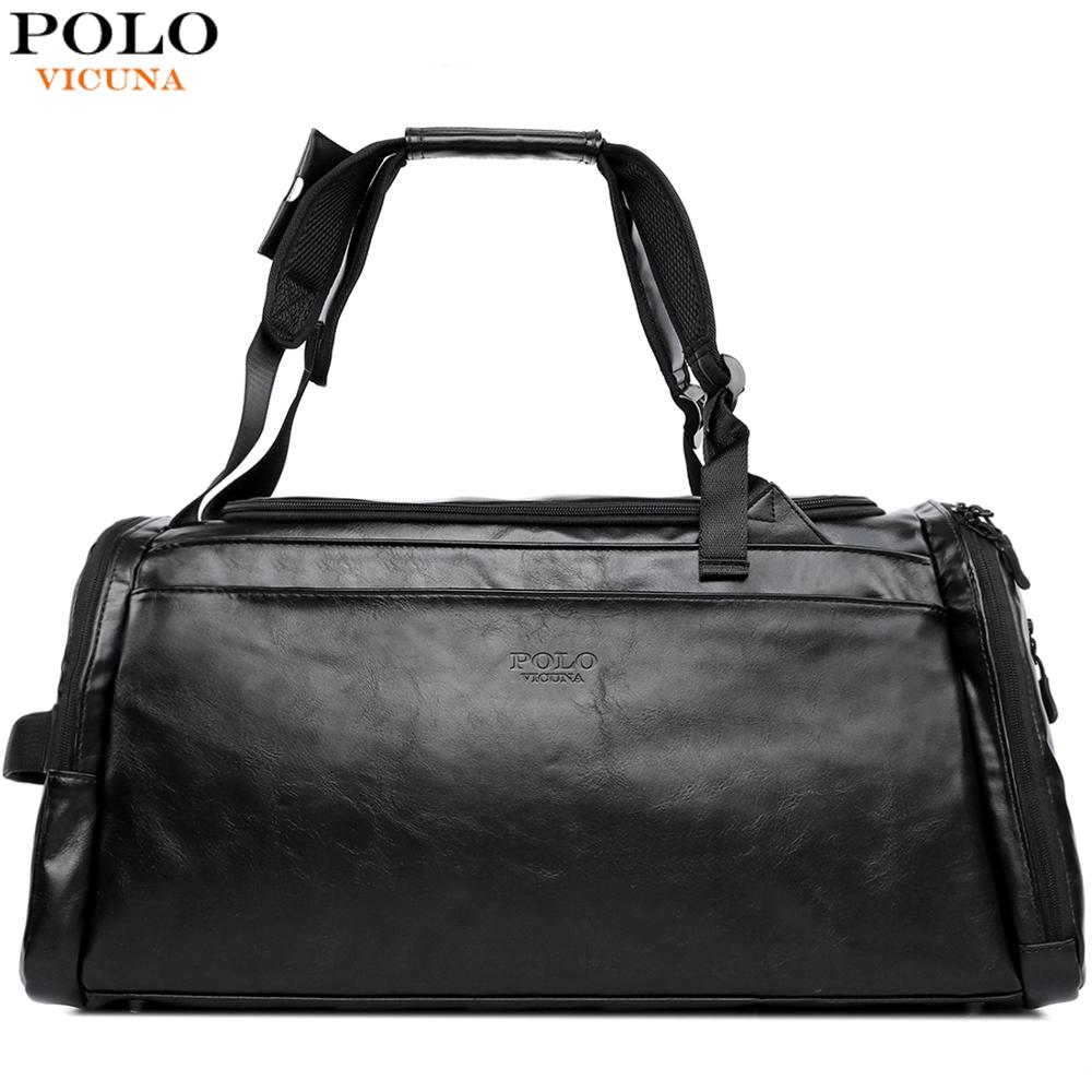 VICUNA POLO Large Capacity Mens Leather Travel Backpack With Shoe Pocket Casual Solid Black Travel Bag For Male Handbag