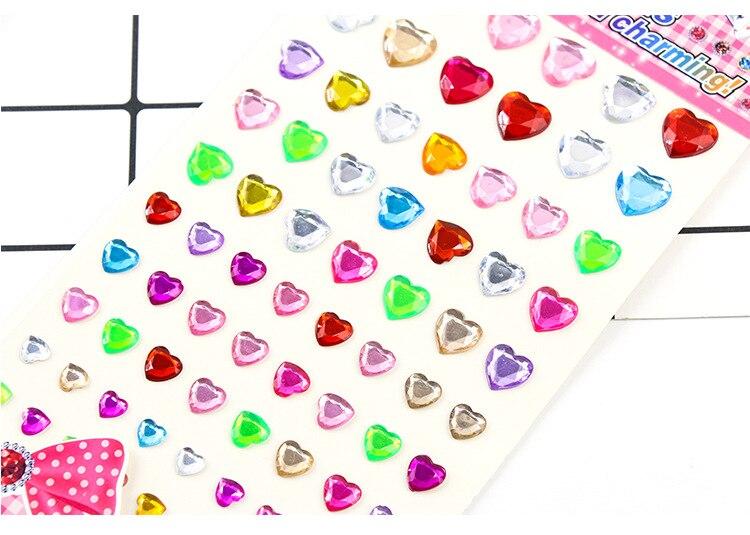 Детские игрушки наклейка в форме сердца DIY Наклейка мобильного искусства Кристалл бриллиант Стразы самоклеющиеся Скрапбукинг Стикеры s GYH