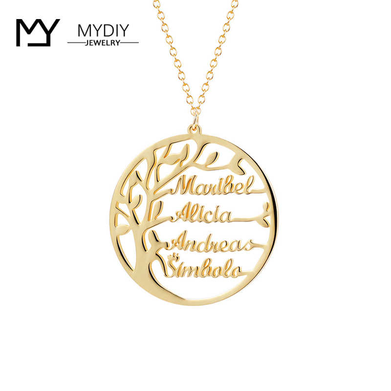 Statement Family Tree Necklace For Family Customized Name Gold Color 925 Sterling Silver Personalized Jewelry Men Christmas Gift