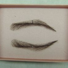 whole sale eyebrown make up 0115 hand made human hairr hand knot fake eyebrow 2# dark brown