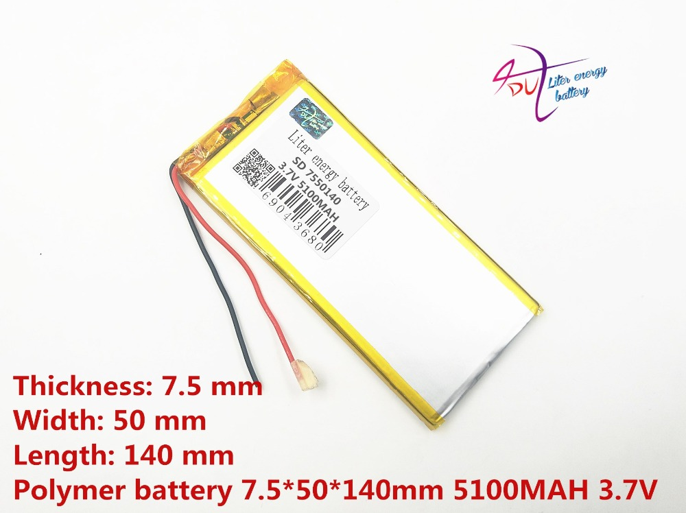 7550140 3.7V <font><b>5100mah</b></font> Lithium Tablet polymer battery With Protection Board For GPS Tablet PC Digital Products image