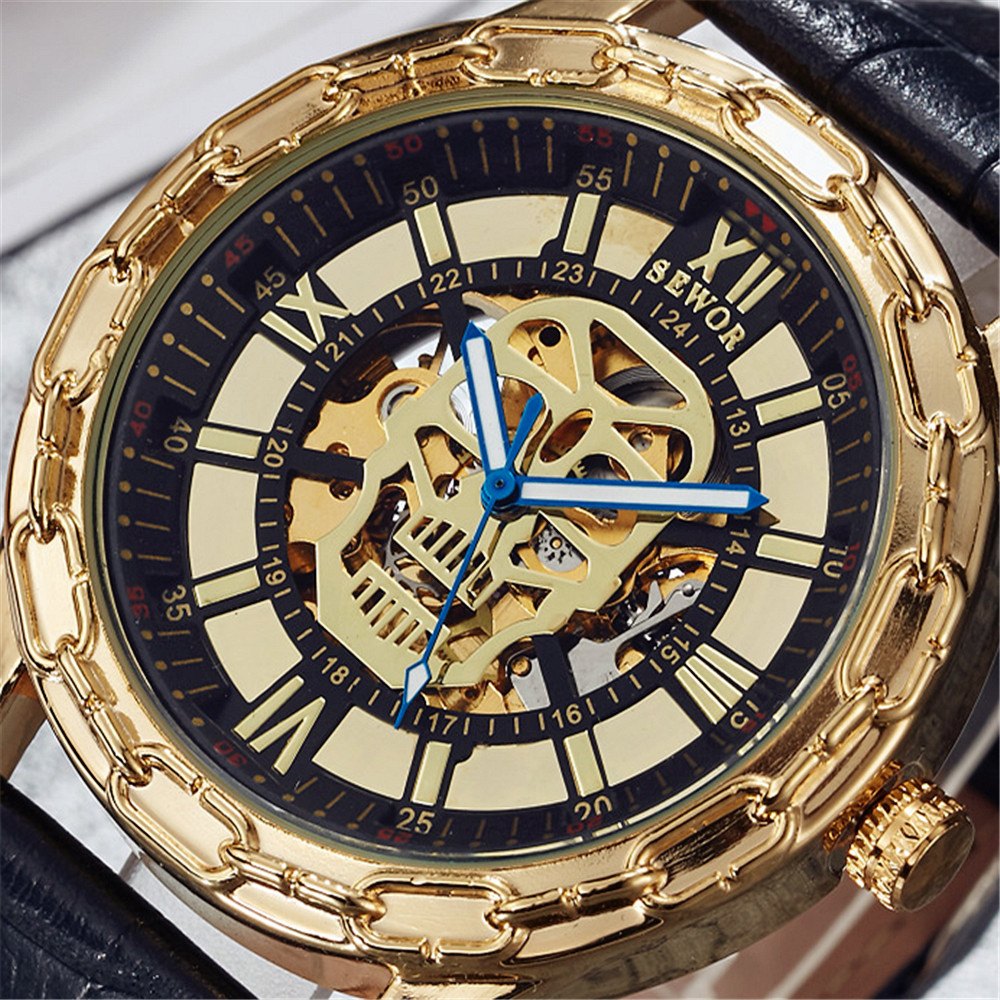 все цены на 2017 Mens Skeleton Watches Top Brand SEWOR Luxury Leather Strap Dress Skull Automatic Mechanical Men Analog Gold Watch For Man онлайн