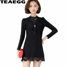 TEAEGG Mini Automne Hiver Robes Robe Femme Ete 2017 Robes Mujer Casual Femmes Robes À Manches Longues Noir Robe Dentelle AL585