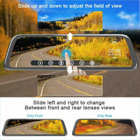 9.66 Inch 1080P Full HD Touch Screen Car Rearview Mirror Dash Cam 720P Rear Camera Car DVR Car Driving Video Recorder Camera