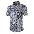 Новое Прибытие 2017 Летняя Мода Печати С Коротким Рукавом Мужская Рубашка Фитнес Camisa Masculina Бренд Сорочка Homme Plus Szie