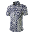 New Arrival 2017 Summer Fashion Printing Short Sleeve Mens Dress Shirt Fitness Camisa Masculina Brand Chemise Homme Plus Szie