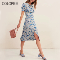 COLOREE Vintage Blue/Pink Floral Printed Midi Dress Summer Elegant Turn Down Collar Single breasted Casual Dress