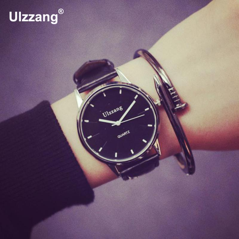 2018 Simple Lover's Watches Fashion Student Women Men Quartz Clock Wristwatch Lover's Gift PU Leather Watchband Gift to Ladies
