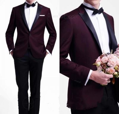 Online Shop 2015 new Hot Sale Tuxedos Dark Red Groom Tuxedo ...