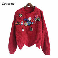 Fashion Beading Women Christmas Red Sweater Pullovers Female Elegant Full Sleeve O Neck Sweaters YN2253