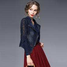 2017 Embroidered Fashion Jeans Jacket Women Spring Long Sleeve Slim Denim Jackets Woman Vintage Zipper Outerwear A1693