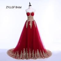 ZYLLGF Bridal New Sweetheart Gold Appliques Evening Dresses Corset Back Tulle Real Photos Formal Evening Gowns