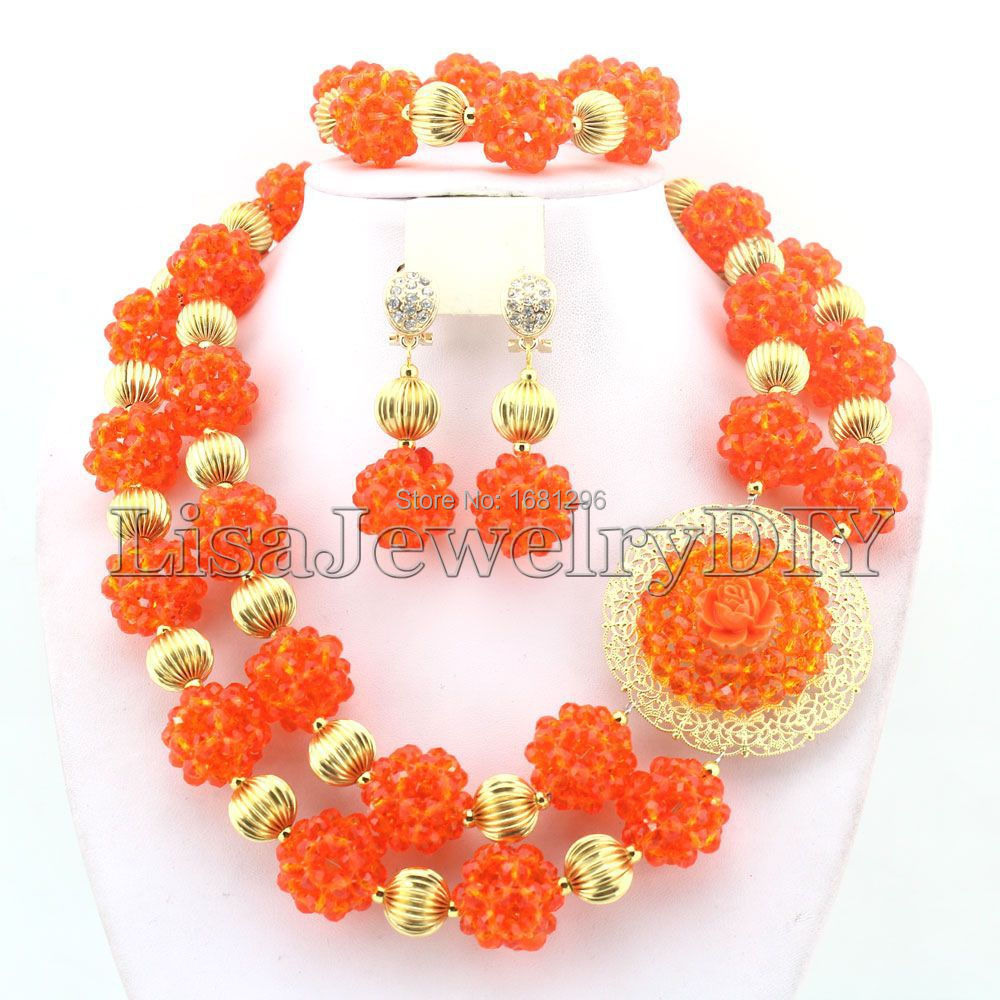 Gorgeous Crystal Ball Costume Jewellery Nigerian Wedding African Beads Jewelry Set HD1051