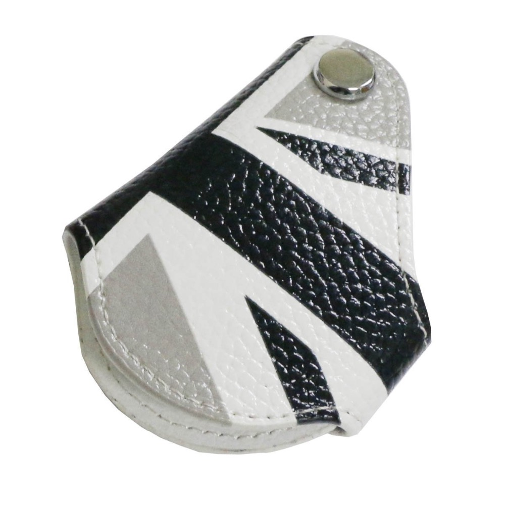 4b45f05c23 Black White Union Jack UK Flag Style Real Leather Key Fob Cover Holder For  2008-