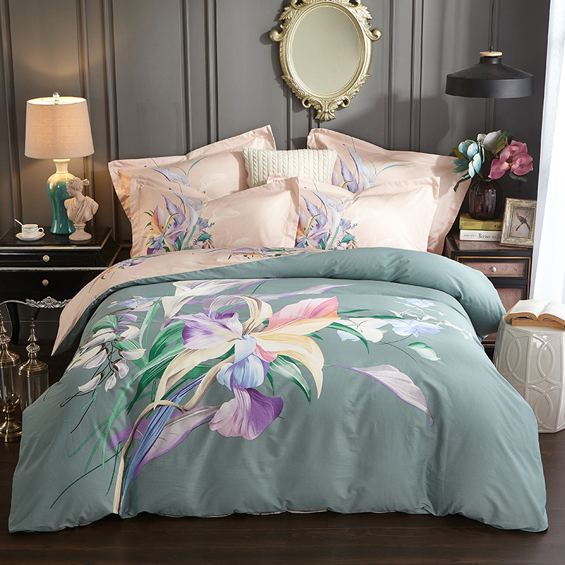 Elegant Watercolor Flower Bedding Set Queen King Size