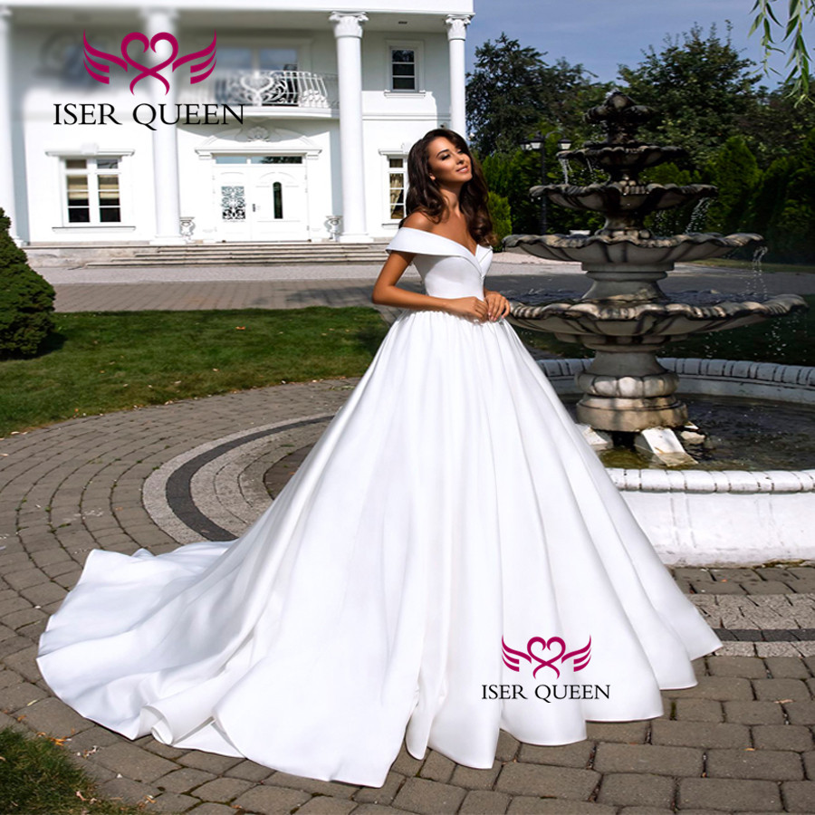 Cap Sleeve Ball Gown Satin Wedding Dresses 2019 Court Train V Neck Plus Size Vintage Wedding Dress Arab New W0548