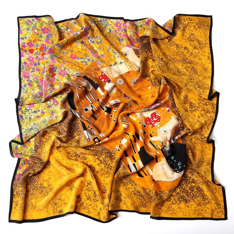 Oil Painting KISS Extra Large Square Silk   Scarf   Shawl Women 100% Mulberry Silk Scarfs   Wraps   Foulard 140x140cm