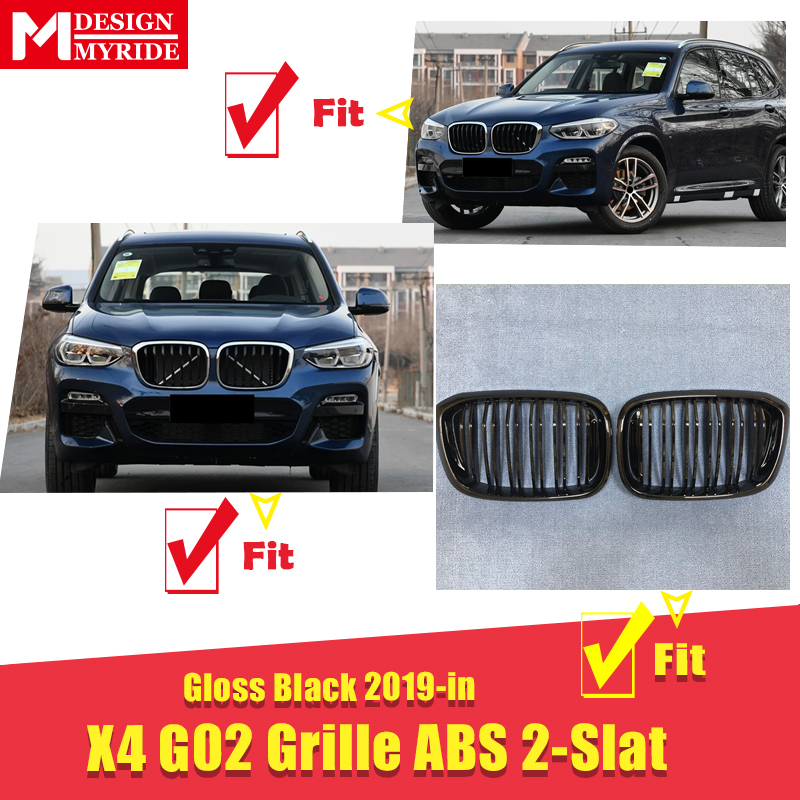 Fits For BMW X4 G02 M Performance Accessory gloss black kidney grille grill ABS M style Front Kidney Grills Mesh 1 Pair 2019 in in Racing Grills from Automobiles Motorcycles