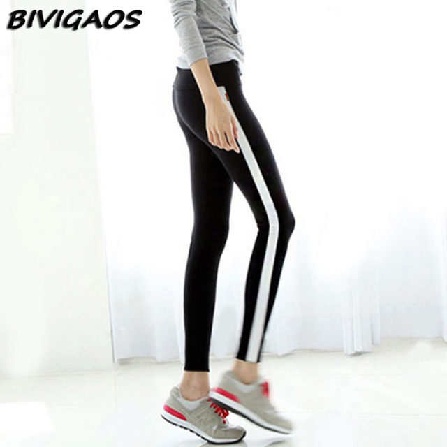 2016 Autumn New Casual  Black White Side Stripe Leggings Women Leggings Contrast Color Splicing Cotton Legging Pants Women