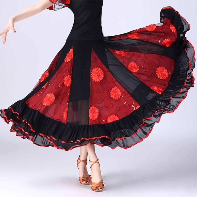 Costume de danse Flamenco jupe longue salle de bal danse moderne Standard valse danseuse robe formation demi-jupe ceinture extensible