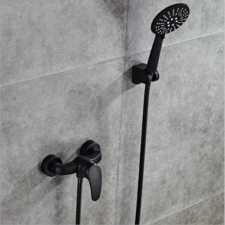 Dofaso antique black shower faucet brass wall mount with ABS hand shower set Single Handle Bath