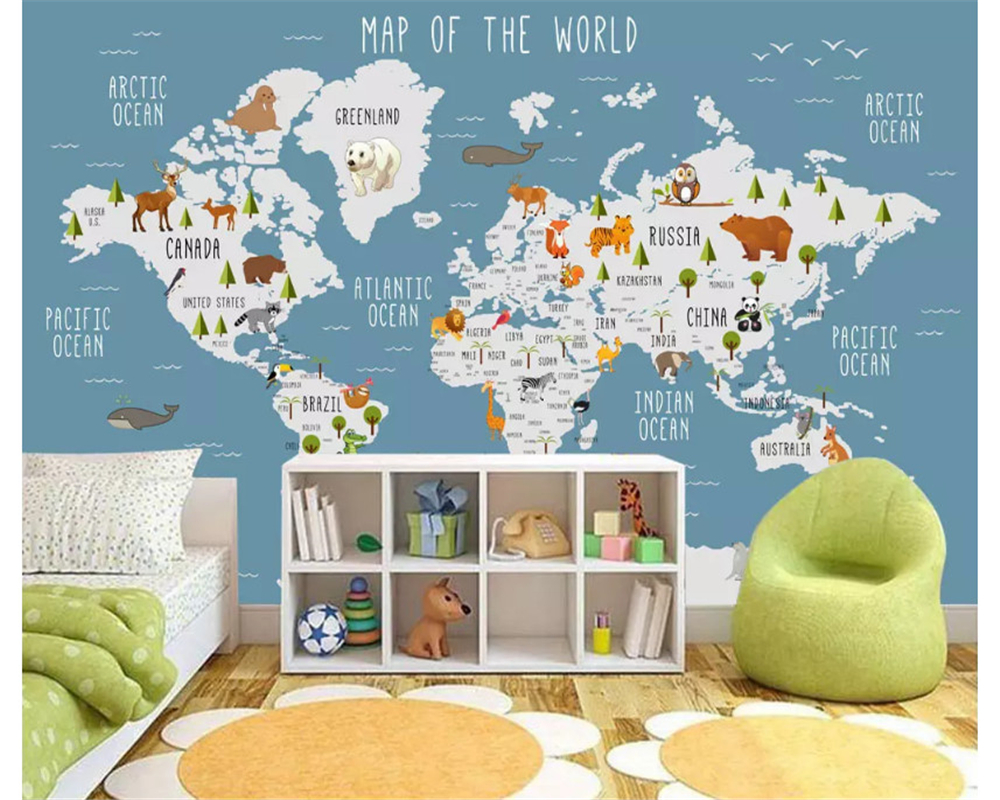 beibehang Large custom fashion retro decorative painting wallpaper world map indoor children's background wall papel de parede vintage world map non woven mural background wallpaper rolls decorative papel de parede mapa mundi